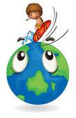 Niño surfeando en globo de la tierra — Vector de stock