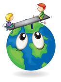 Kids playing on earth globe — Stock Vector