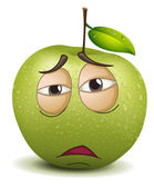 Sad apple smiley — Stock Vector