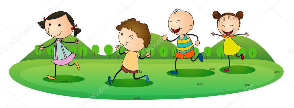Ni os jugando al aire libre vector de stock 13206837 - Dibujos infantiles de ninos jugando ...