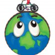 A boy riding on bicycle on earth globe — Stock Vector