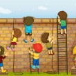 Kids climbing on a wall — Imagen vectorial