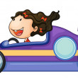 Stock Vector: A girl driving a car