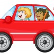 Stock Vector: Girls in a car