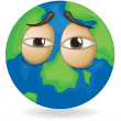Earth globe sleepy face - Stock Vector