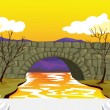 Bridge made up of stones — Stock Vector