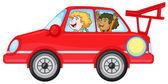 Girls in a car — Stock Vector