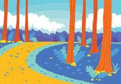 Camino en el bosque — Vector de stock