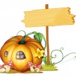 Board and pumpkin house - Stok Vektör