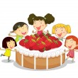 Kids and cake - Stock Vector