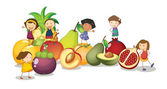 孩子们和水果 — 图库矢量图片