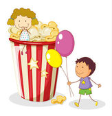 Kids and popcorn — Stock Vector
