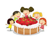Kids and cake — Stock Vector