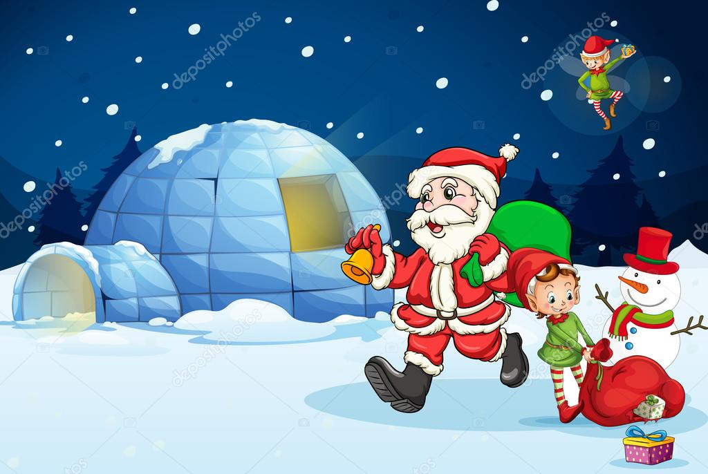 Illustration of santa claus and kids — Stock Vector #13268822