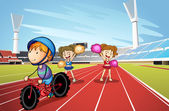 Kids and race track — Stock Vector