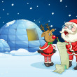 Santa claus and reindeer — Vector de stock #13323896