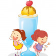 Girls and ice cream - Imagen vectorial