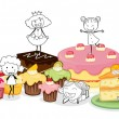 Various cakes and scetches of kids - Stock Vector