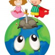 Kids on earth planet — Stock Vector #13323992