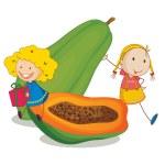 Girls and papaya — Stock Vector