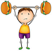 Boy and excercise — Stock Vector