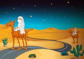 Arabians riding on a camel — Stock Vector