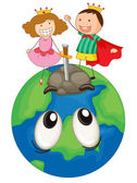 Kids on earth planet — Stock Vector