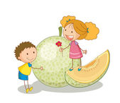 Kids and vegetable fruit — Stock Vector