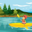 A boy in a boat - Stock Vector