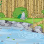 Lake and bamboo wall — Stock Vector #13354815