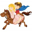 Stock Vector: King and queen riding on a horse