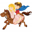 King and queen riding on a horse — Stock Vector
