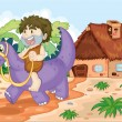 Stock Vector: A boy riding on dinosaur