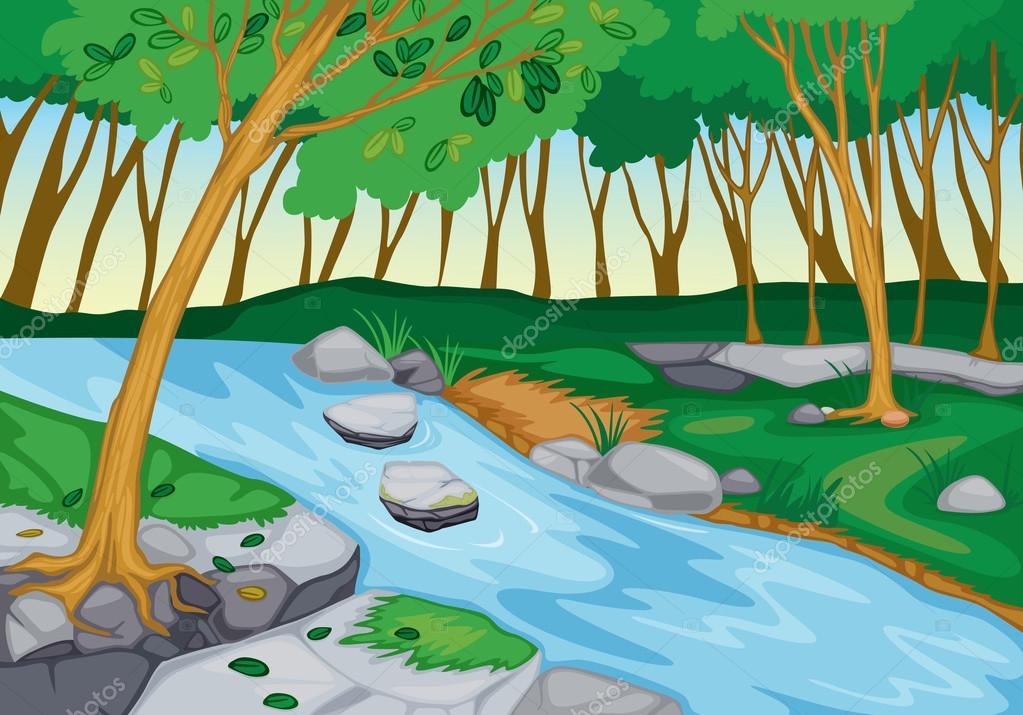 在大自然中流动的河 — 图库矢量图像© interactimages ...