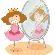 Girl and mirror - Imagen vectorial
