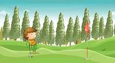 Chlapec hrát golf — Stock vektor