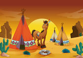 Horse and tent house — Stock Vector