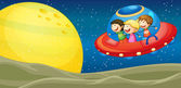 Kids and flying saucers — Stock Vector