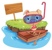Pig and boat — Stock Vector