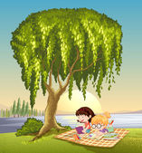Girls and tree — Stock Vector