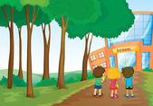 Kinder vor Schule — Stockvektor