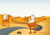 Árabes montar en camello — Vector de stock