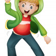 A boy in green jacket - Imagen vectorial