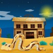Snake in front of house — Vector de stock