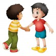 Stock Vector: Kids shaking hands