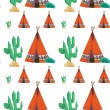 Tent and cactus — Vector de stock