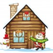 House and santa claus — Stock Vector