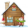 Stock Vector: House and santa claus