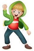 一个绿色的外套的男孩 — 图库矢量图片
