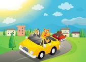 Animals in car — Stock Vector